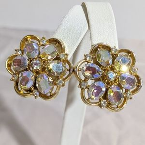 Vintage Crown Trifari AB Rhinestone Gold Earrings